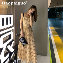 Print Letter Light Luxury Long Dress Women Spaghetti Strap F Letter Printed Polka Dot Dress Women Summer Casual Dress Plus SIze цена 2017