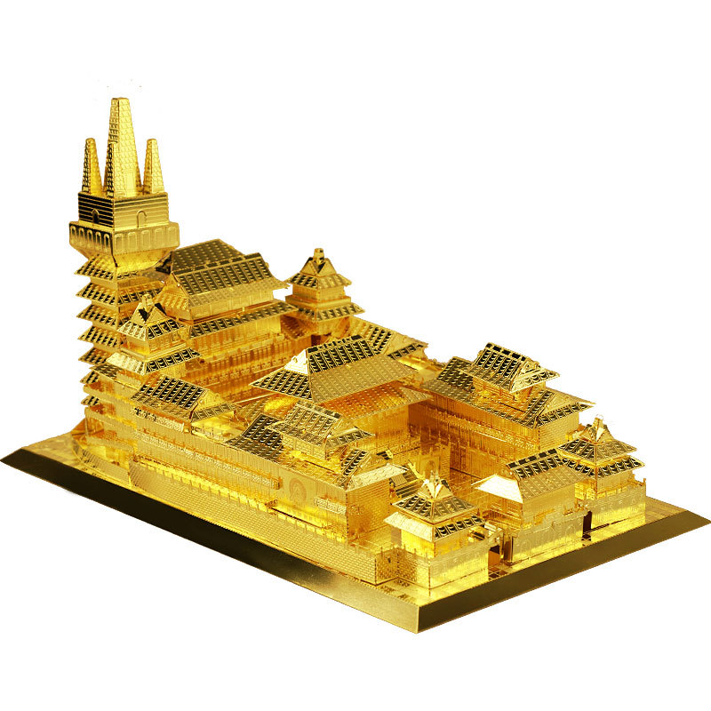 MU 3D Metal Puzzle Jin An Temple building Model DIY Laser Cut Jigsaw Model For adults kids Educational Toys Desktop decoration kids educational diy 3d puzzle toys wooden assembly ancient chinese shaolin temple