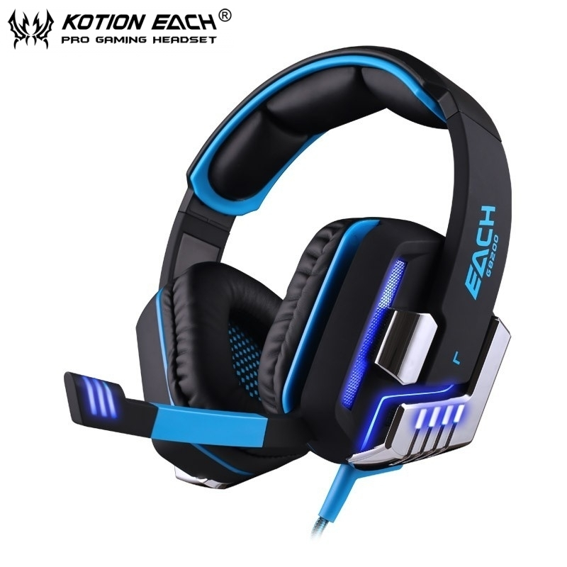15pcs EACH G8200 Game Headphone 7.1 Surround USB Vibration Gaming Headset Headband Earphone with Microphone LED Light For PC