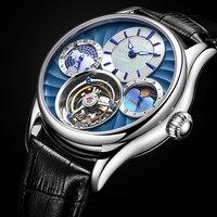 Пользовательские механические часы Для мужчин лучший бренд часы Для мужчин сапфир зеркало Оригинал Tourbillon полые двигаться Для мужчин t фазы