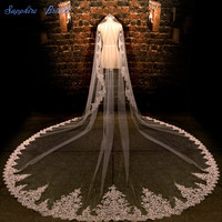 Sapphire Bridal Single Layer Vintage Lace Veil Velo De Novia Cathedral Ivory Stunning Sequin Lace Wedding Veil For Bride