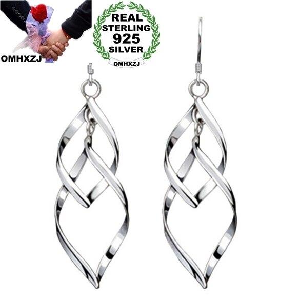OMHXZJ Wholesale Fashion Jewelry Bohemia Tassel Double Twist 51X16mm 925 Sterling Silver Charms Earrings YS13