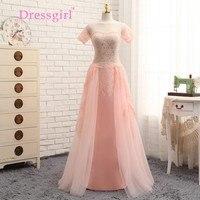 Detachable Skirt 2017 Evening Dresses Sheath Cap Sleeves Pink Chiffon Lace Elegant Long Evening Gown Prom