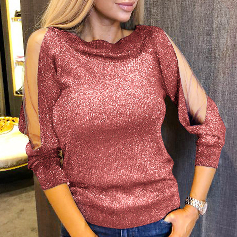 Women Autumn T shirts and Tops 2018 Women  Fashion Long Sleeve Solid Shirt Stitching Perspective Mesh Flash Top camiseta mujer