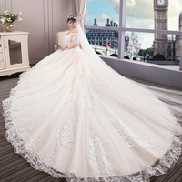 Real Sample 2019 New Bandage Top Crystal Luxury Wedding Dress 2018 Bridal gown wedding dresses Cathedral Train Short sleeve