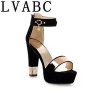 LVABC 2018 Summer Platform Sandals Women Ladies Shoes Thick Heels Sandals High Heels Suede Fashion Sandals Plus Size 33 45 G09