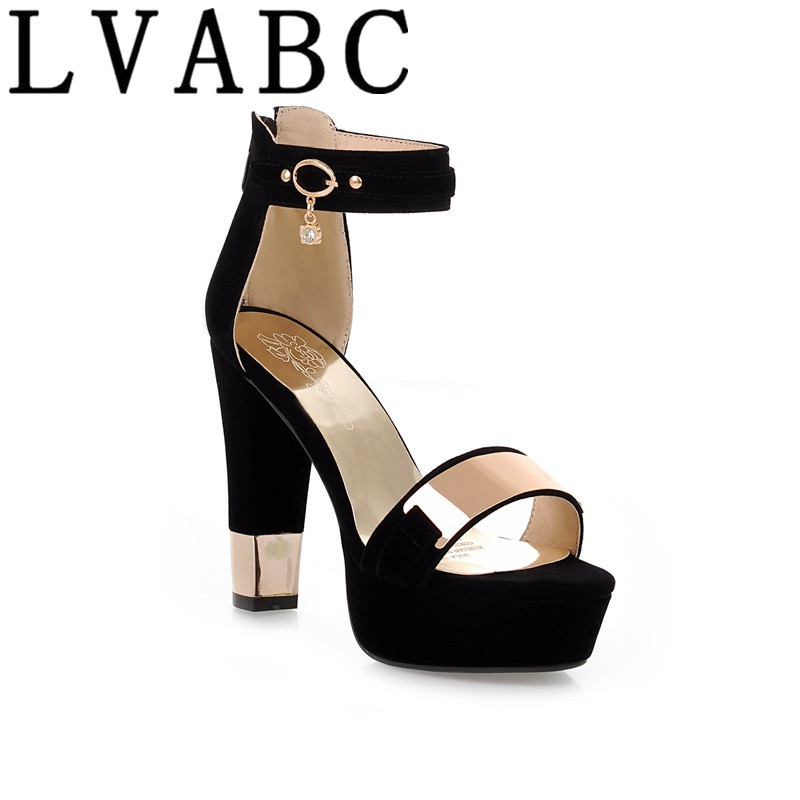 LVABC 2018 Summer <font><b>Platform</b></font> <font><b>Sandals</b></font> Women Ladies Shoes Thick <font><b>Heels</b></font> <font><b>Sandals</b></font> <font><b>High</b></font> <font><b>Heels</b></font> Suede Fashion <font><b>Sandals</b></font> Plus Size 33-45 G09 image