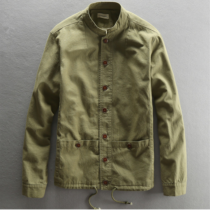 Spring Autumn Mens Jackets Casual Linen Blazers Slim Fit Mandarin Stand Collar Vintage 2018 Male's XXXL Army Coats Soft Outwear