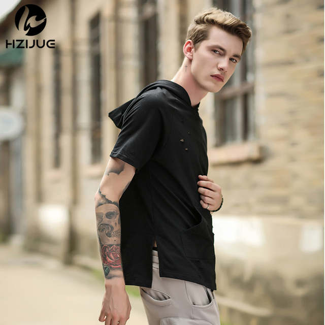1840c1499901 HZIJUE Men Tshirt Summer 2018 Men Ripped Hole Loose Casual Tops Fashion  Summer T-shirt