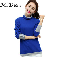 2015 Poncho Women Sweater And Pullovers New WinterTunics Casual Turtleneck Knitwear Tops Mujer Pull Femme Orange