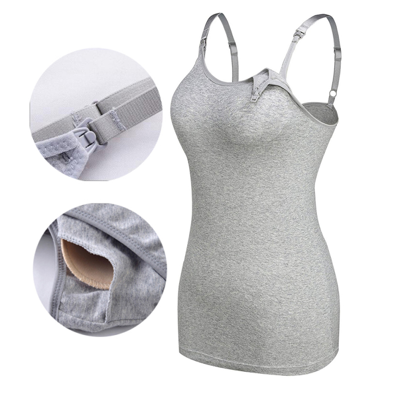 Maternity Women Nursing Cami Tank Tops For Breastfeeding Camisole Pregnant Build-in Bra Removable Pads Casual Cotton Vest Top