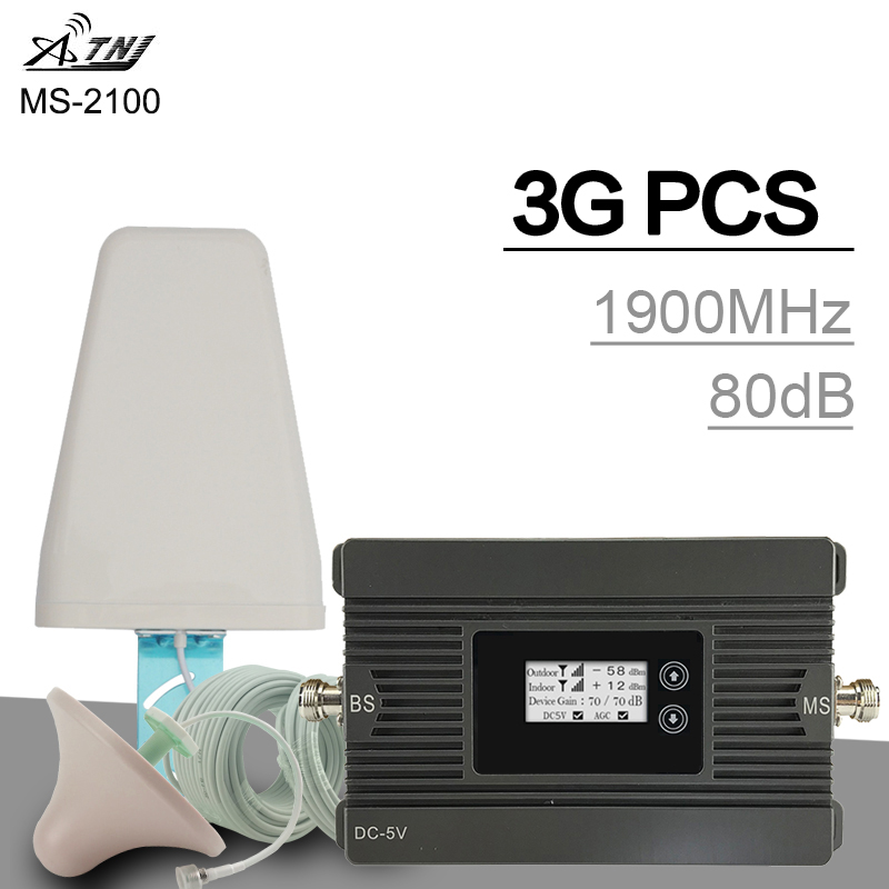 Cover 500 Sqm ATNJ 3G Cellular Signal Repeater PCS 1900 MHz Band 2 Signal Amplifier LCD Display 80dB Gain 3G Mobile Booster Set