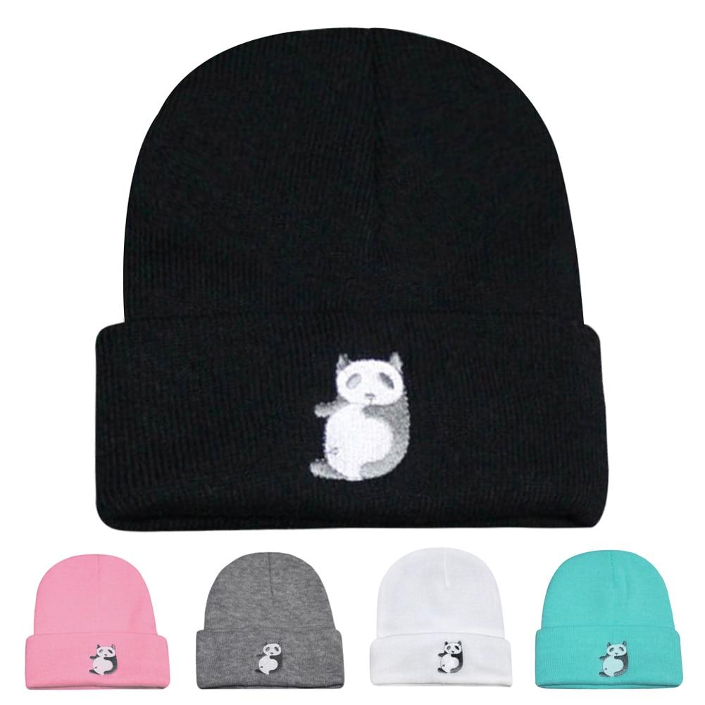 2017 Unisex Women Men Hat Warm Winter Panda Knit Cap Hip hop Beanie Hats For Women Men Winter Cap Unisex Outdoor Skiing hot winter beanie knit crochet ski hat plicate baggy oversized slouch unisex cap