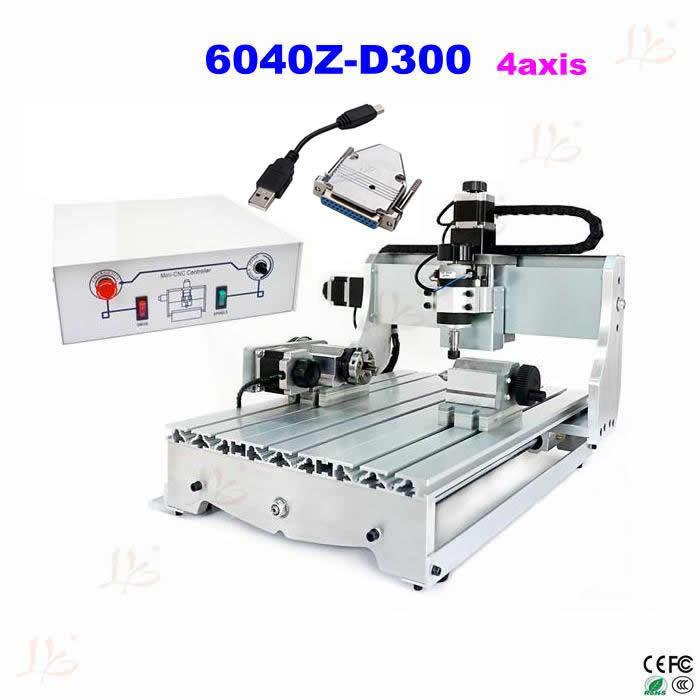 free shipping to russia and no tax! CNC lathe  6040 Z-D300 4axis 110V/220V CNC milling machine cnc router + USB adpter no tax to russia cnc 5 axis t chuck type include a aixs