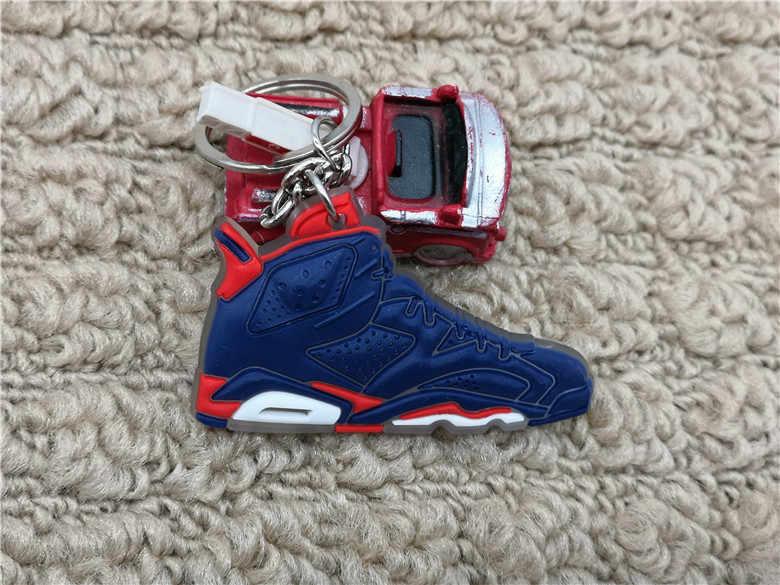 Lindo Mini silicona Jordan 6 llavero bolso encanto mujer hombres niños llavero regalos accesorios AJ zapatos zapatillas llavero colgante