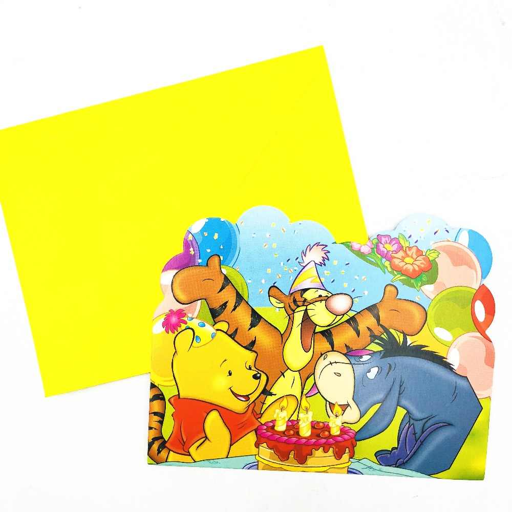 6pcs Winnie Bear The Pooh Birthday Party Invitations Ideas Partyware Decoration Girls Winne Pooh Birthday Party Invitation Card Cards Invitations Aliexpress