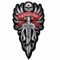 Skeleton Sword Badge Embroidery Biker Iron On Patches For Jackets Clothing Bordados Military Termoadhesivos