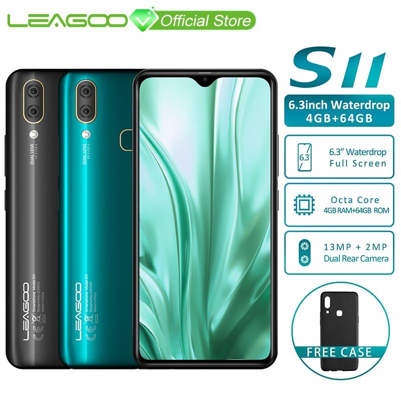 "LEAGOO S11 4GB 64GB Mobile Phone Android 9.0 6.3"" Waterdrop Display Helio P22 Octa Core 13MP Dual Camera Fingerprint Smartphone"