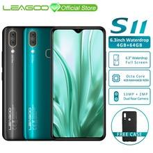"LEAGOO S11 4 GB 64 GB נייד טלפון אנדרואיד 9.0 6.3 ""ואטארדרוף תצוגת Helio P22 אוקטה Core 13MP כפולה מצלמה טביעות אצבע smartphone"