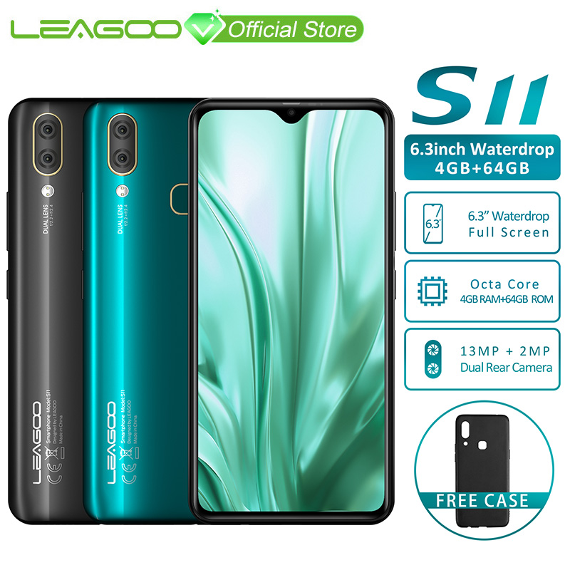 "LEAGOO S11 4GB 64GB Mobile Phone Android 9 0 6 3 Waterdrop Display Helio P22 Octa LEAGOO S11 4GB 64GB Mobile Phone Android 9.0 6.3"" Waterdrop Display Helio P22 Octa Core 13MP Dual Camera Fingerprint Smartphone"