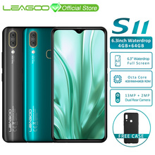"""Leagoo s11 4 gb 64 gb 휴대 전화 안드로이드 9.0 6.3 """"waterdrop 디스플레이 helio p22 octa core 13mp 듀얼 카메라 지문 스마트 폰"""