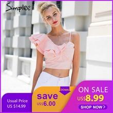 f10eacc0328d45 Simplee One shoulder irregular blouse shirt women tops Summer pink shirt  blouse chemise femme Elegant backless