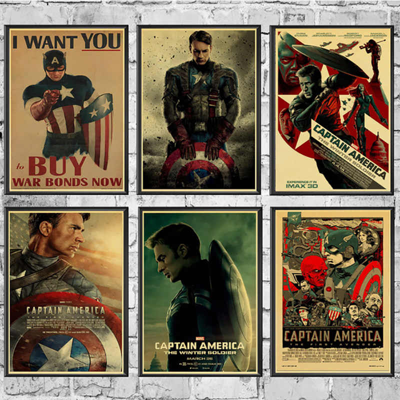 Nordic New Style Canvas Vintage Captain America Poster Marvel Comics Painting Wall Stickers Art Prints For Bar Home Decoration