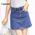 {Guoran} 2016 Summer Women Jeans Skirts Blue Black Girls A-line Blue Denim Jeans Short Skirts  Female vintage High Waist Ladies