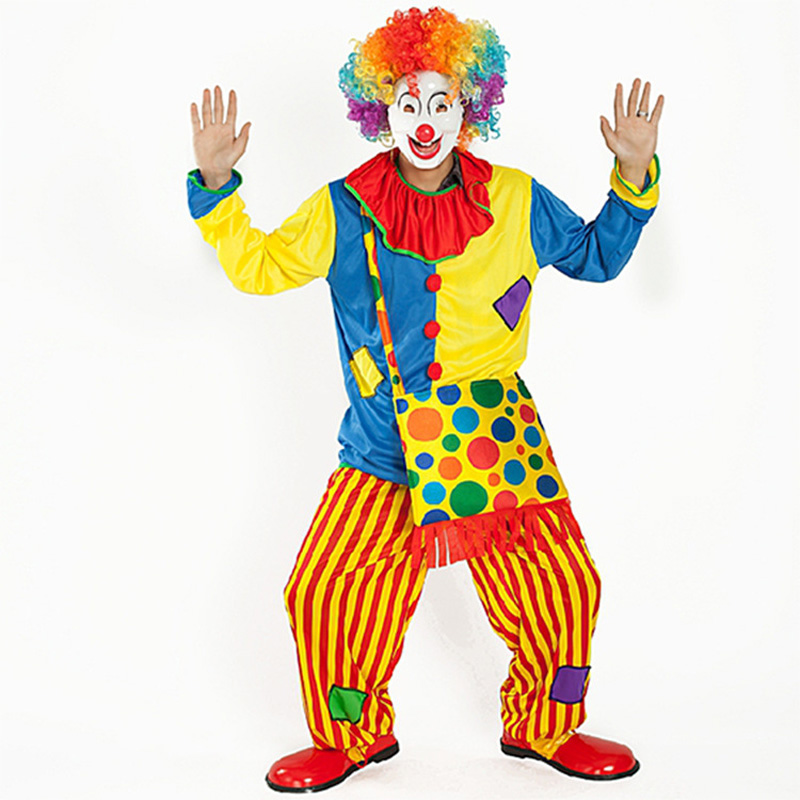 Halloween Amazing Circus performance Clown Costume Adult buffoon halloween Unisex Cosplay clothes jumpsuit Top+Pants+backpack
