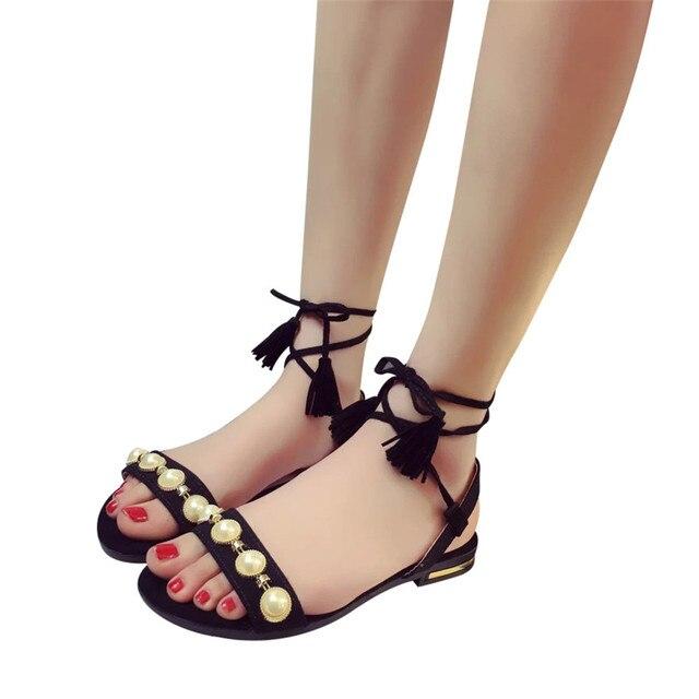 117ef423a666 Fashion Women Tassel Pearl Flat Heel Anti Skidding Beach Shoes Back Strap  Sandals Slipper sandalias mujer