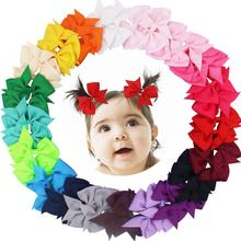 "40pcs (20Pair) 3.5"" Boutique Hair Bows Girls Kids Children Alligator Clip Grosgrain Ribbon Headbands 20 Colors(China)"