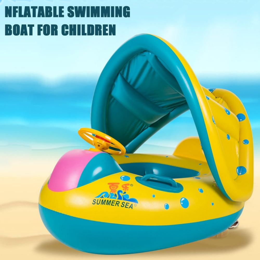 Trumpet Shape Safety Baby Infant Swimming Float Inflatable Adjustable Sunshade Seat Boat Ring Swim Pool Accessories