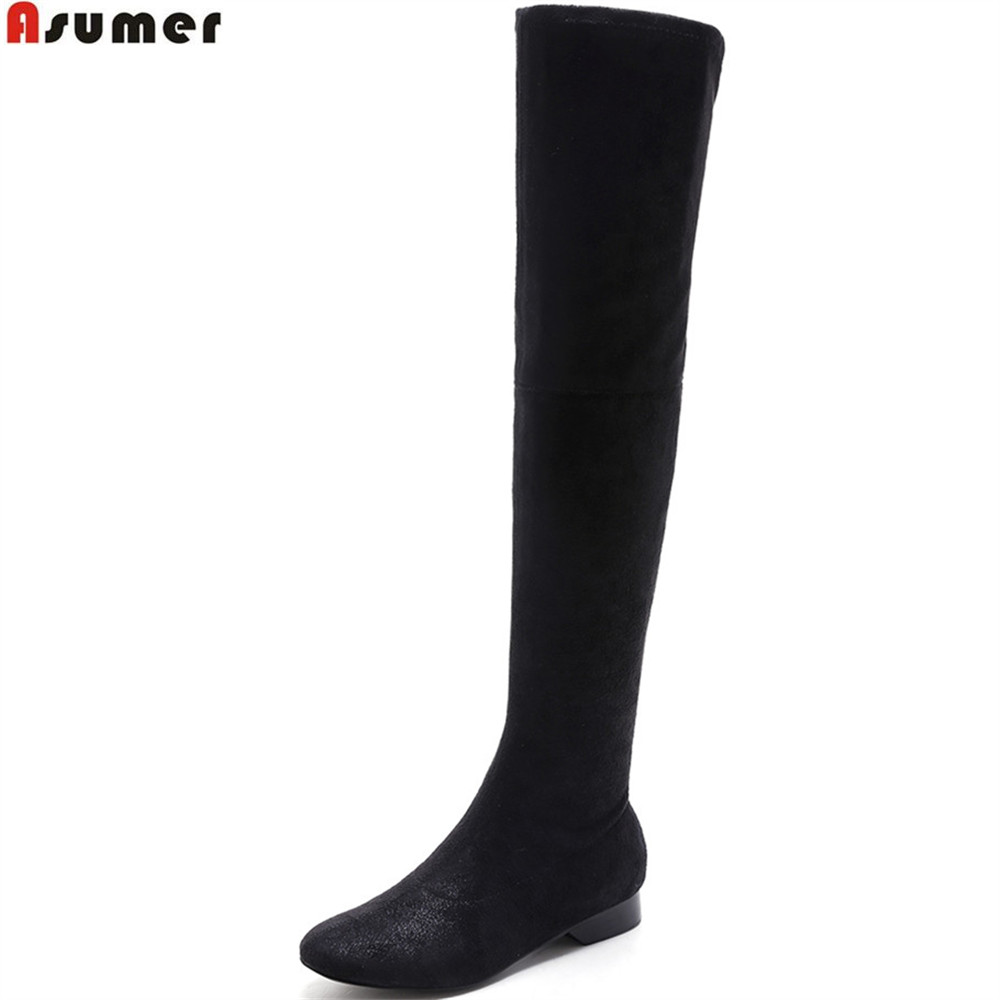 ASUMER black fashion new arrive women boots round toe zipper ladies shoes square heel autumn winter over the knee boots low asumer 2018 hot sale new arrive women boots pointed toe black autumn winter ladies boots zipper buckle over the knee boots