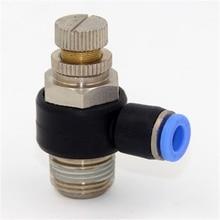 """SL пневматический L Тип регулятор скорости потока 4-12 мм OD шланг трубка 1/"""" 1/4"""" 3/"""" 1/2"""" BSP Мужской газовый воздушный поток предельный клапан быстрая установка"""