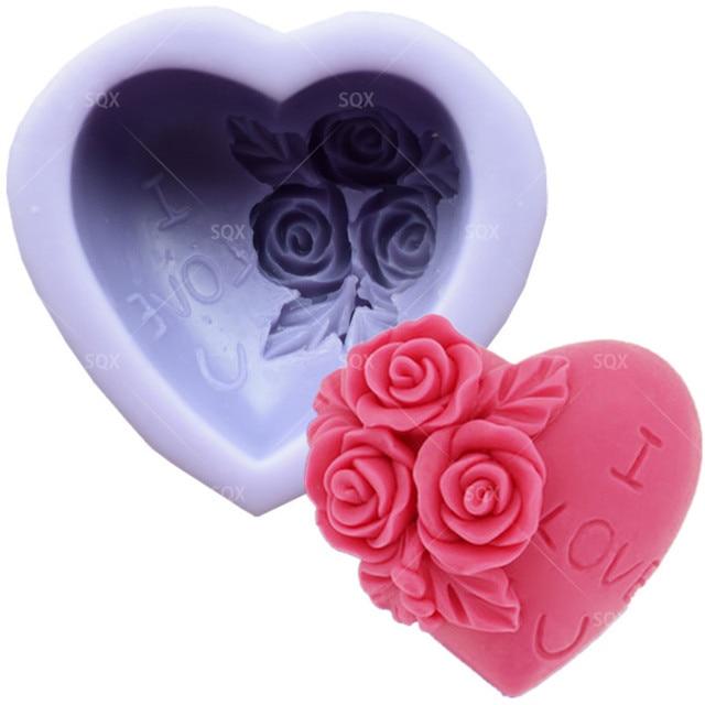Herzform Silikon Seifenform Harz Ton Kerze Formen Schokolade Fondant