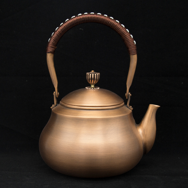 1.2L handmade copper teapot glass samovar ceramic  enameled from clay enameled kettle metal dishes puer green tea gift Japanese