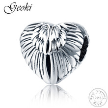 Geoki 925 Sterling Silver Hear-shaped Angel Wing Beads fit Pandora Bracelet Original S925 Bird Heart Pendant Necklace Charms equte psiw264 stylish 925 sterling silver necklace w angel wing pendant for women silver 18