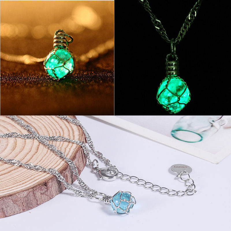 Fashion New Creative Luminous Crystal Ball Chic Glow In The Dark charming Necklace fine jewelry 2color