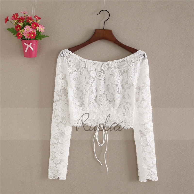 New Arrival O Neck Lace Jacket Wedding Bolero Women Long Sleeve Bridal Wrap Wedding Coat Lace Jacket Boho Wedding FJ32