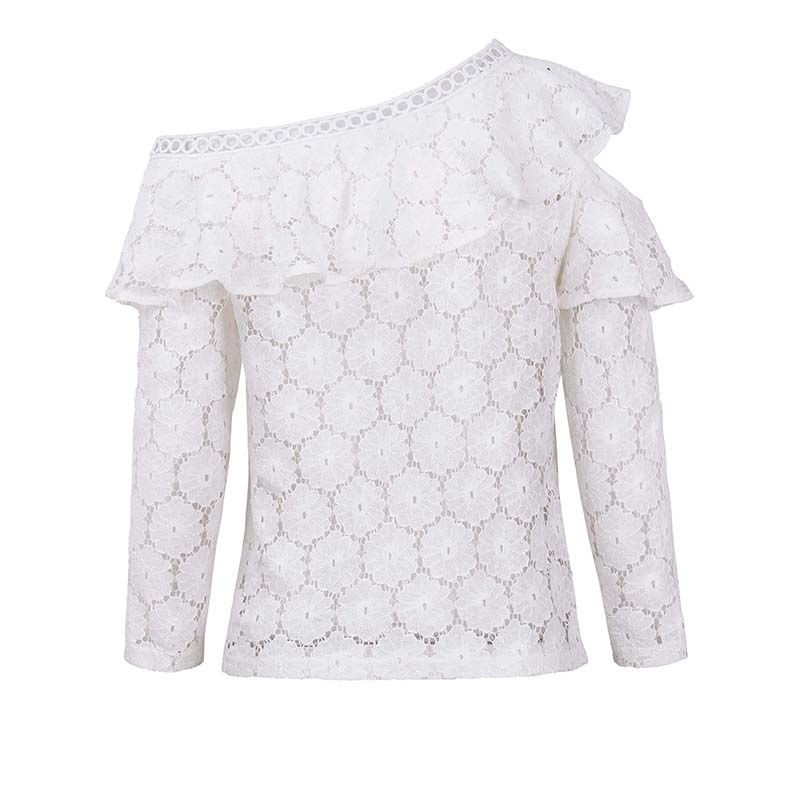 2018 autumn new lotus leaf lace hollowed out with irregular shoulders sexy long sleeved lace skirt in T Shirts from Women 39 s Clothing