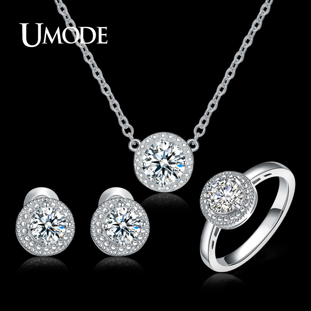 UMODE Brand New White Gold Color Bridal Jewelry Sets for Women with Necklaces & Earring & Ring Wedding Accessories Gifts AUS0043