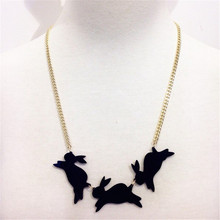New Fashion Black Three Rabbits Acrylic Pendant Necklace Gold Chain White Little Animal Cool Lovely Trendy