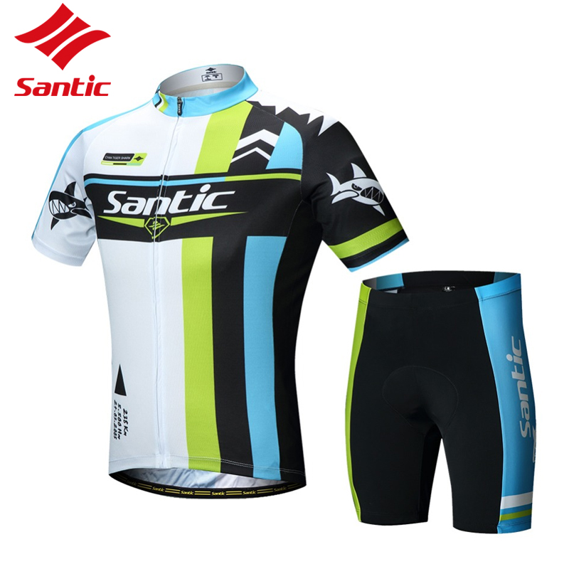Santic Cycling Jersey Shorts Suit Summer Breathable Quick Dry Short Sleeve T-shirt 3D Padded Pants 2 Pieces/Set XL 2XL 3XL round neck stripe print fitted quick dry short sleeve men s t shirt suit t shirt shorts