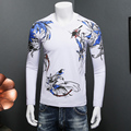 fashion slim fit men t shirt long sleeve bird 3d printed t-shirts luxury brand clothing fitness body building male tees shirt