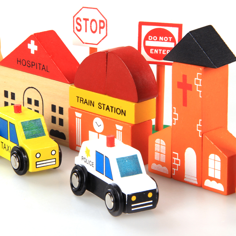 ФОТО Baby Toys Wooden City Traffice Building Blocks Kids Magnetic Pretend Play Building Blocks Toys Gift