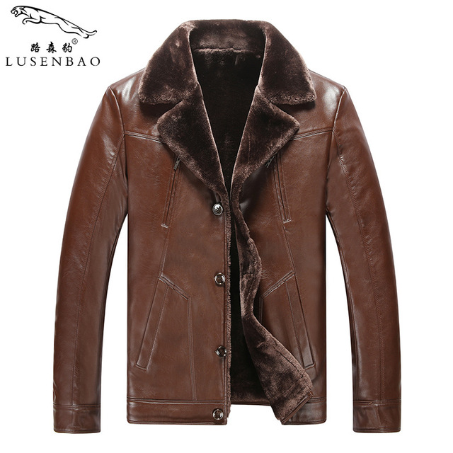 Leather Jacket Mens Winter Leather Jacket Men Thickening Warm Windbreak Outwear Lamb Fur Collar Mens Leather Jackets And Coats