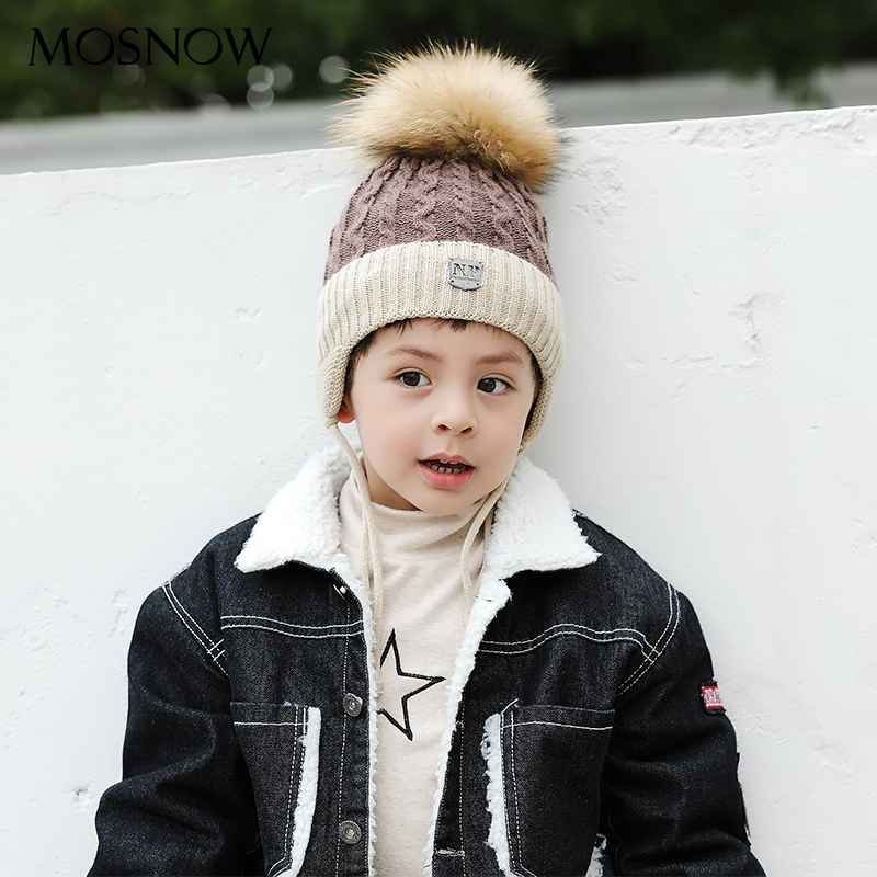 Caps Stocking Beanies Fur Pompom Knitted Warm Girls Cotton Fashion Brand-New for Boy