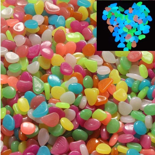 Colorful Artificial Luminous Stones 50pcs Garden Pebbles Night Run Club  Party Fun Fish Aquarium Flower Vase