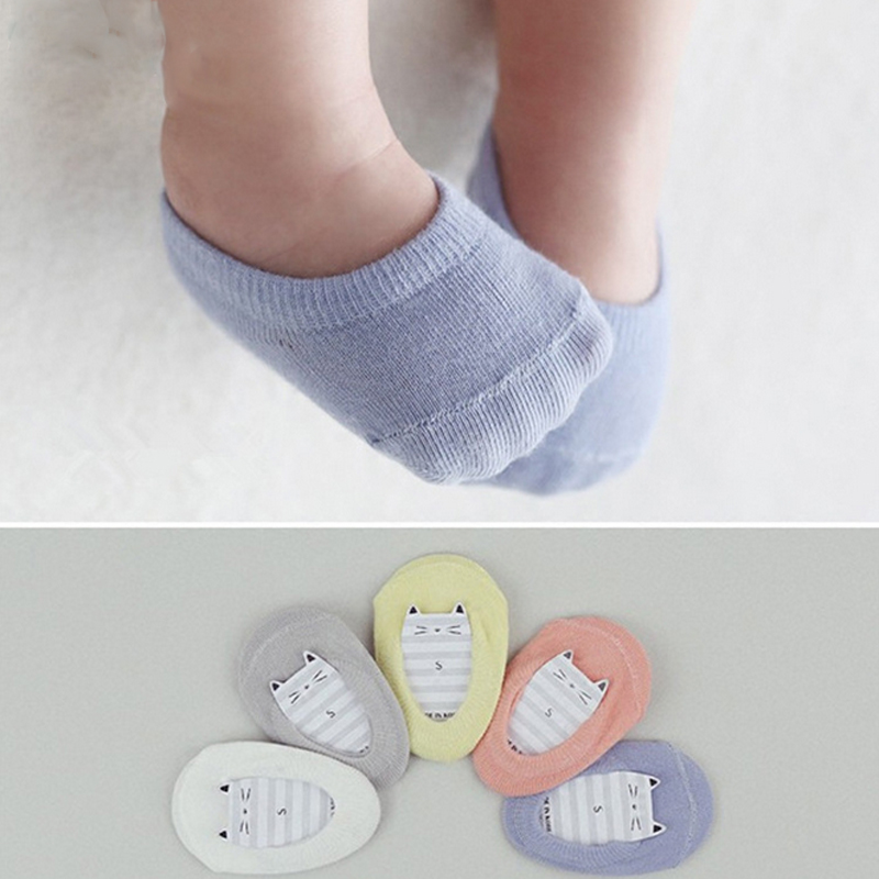 5pairs/lot High Quality Korean Children's Invisible Boat Socks Baby Non Slip Socks Cotton Sock for Girl and Boy 2