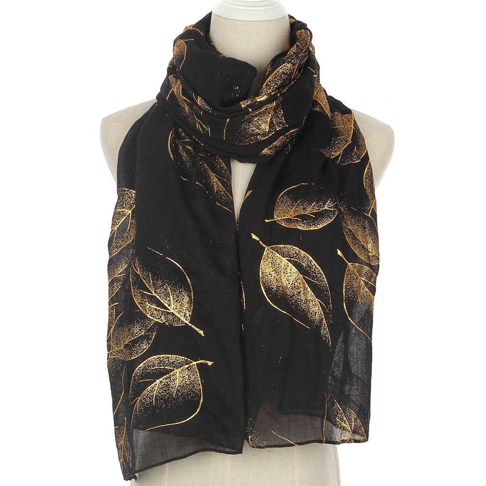 Winfox 2019  Fashion Black Shiny Foil Gold Autumn Spring Scarf Female Leaves Long Cachecol Hijab Scarfs Wraps For Womens Ladies